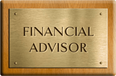 A rectangular golden plate showing the text financial advisor