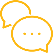 An icon of two yellow speech bubbles